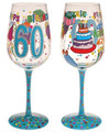 """60 The Best is Yet to Come"" Bottom's Up Hand Painted Wine Glass with Bling"