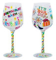 """Birthday Bash"" Bottom's Up Hand Painted Wine Glass with Bling"