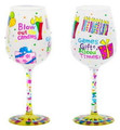 """Blow Out the Candles"" Bottom's Up Hand Painted Wine Glass with Bling"