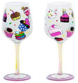 """Let's Eat Cake"" Bottom's Up Hand Painted Wine Glass with Bling"