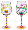 """Time to Celebrate"" Bottom's Up Hand Painted Wine Glass with Bling"