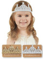 Children's Gold or Silver Crochet Lace Crown Headband