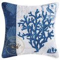 Indigo Blue Coral Indoor / Outdoor 18 x 18 Pillow by Kathryn White