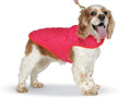 Diamond Quilted Reversible Dog Coat Fushia and Orange/Red Size 10 S