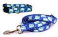 Geometric Blue Pet Dog Collar and / or Lead
