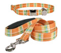 Southern Dawg Madras Orange Preppy Dog Collar by Yellow Dog Designs (In-Stock)