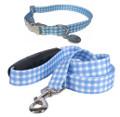 Southern Dawg Gingham Blue Preppy Dog Collar