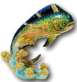 Mahi Mahi Enamel Hinged Bejeweled Trinket Box
