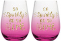 Go Sparkly or Go Home Stemless Pink Ombre Glittery Wine Glasses