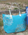 Light Blue with Metallic Silver Coral Designs Beach Tote