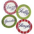 Set of 4 Festive Holiday Dazzle, Sparkle, Jolly & Jingle Tidbit Snack Plates