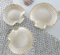 Set of 3 Pearlized Glass Scallop Shell Tidbit Snack Plates