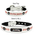 Officially Licensed Miami Marlins MLB Classic Baseball Leather Dog Collar In Stock