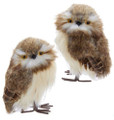 "Set of Two Kurt Adler 6"" Brown and White Furry Owl Ornaments"