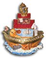 Noah's Ark Figurine Bejeweled Trinket Box w Matching Necklace
