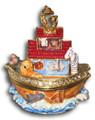 Noah's Ark Figurine Bejeweled Trinket Box w Matching Necklace