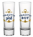 Nauti Girl and Nauti Boy- Set of 2 Gold Foiled Nautical Shot Glasses