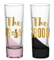The Boss (Wife) & the Groom- Set of 2 Gold Foiled Wedding Shot Glasses