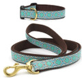Aqua Blue and Brown Seaglass Premium Ribbon Dog Collar