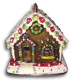 Christmas Gingerbread House Figurine Bejeweled Trinket Box w Matching Necklace