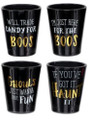 Set of 4 Black & Gold Halloween Shot Glasses with Funny Sayings