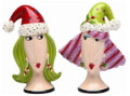 Whimsical Dollymama  Women in Santa Hats Christmas Salt & Pepper Shakers