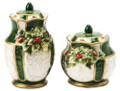 Elegant Emerald Green w Gold Accents Holly Christmas Salt & Pepper Shakers