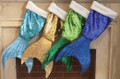 Mermaid Tail Sequin Christmas Holiday Stocking in Gold, Blue, Light Blue and Green