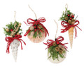 Set of 4 Assorted Christmas Holiday Seashell Ornaments