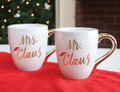 Set of Two Mr. & Mrs. Claus Gold Metallic Christmas Holiday Coffee Mugs