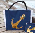 Sailcloth Gold Anchor Nautical Carry All Tote Bag