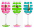 Set of 3 Tropical Gold Foiled Flamingo, Pineapple & Palm Tree Wine Glasses