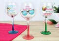 Set of 3 Fun Summer Sayings Wine Glasses with Gold Metallic Accents