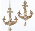 Set of 2 Ship's Anchors w Shells Christmas Holiday Ornaments