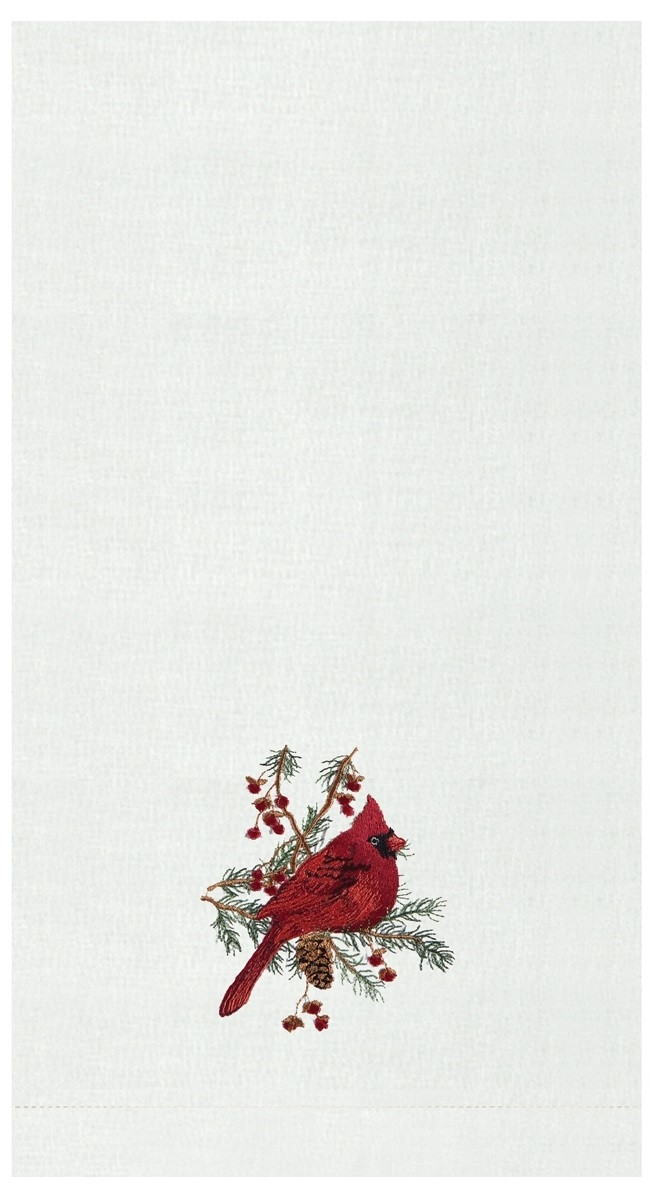 Red Cardinal In Spruce Embroidered Christmas Holiday