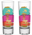 Cheers - Set of 2 Colorful Celebration Shot Glasses with Gold Lettering