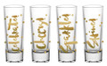 Set of 4 Gold Foil Celebration Shot Glasses - Celebrate, Cheers, Sparkle & Shine