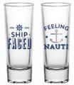 Ship Faced & Feeling Nauti- Set of 2 Silver Foiled Nautical Shot Glasses