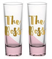 Set of Two The Boss  Pink Ombre Shot Glasses w Gold Metallic Lettering