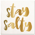 Set of 20 Nautical Stay Salty Cocktail Napkins with Metallic Accents