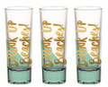 Drink Up Beaches - Set of Three Metallic Gold Foiled Shot Glasses