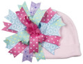 Cotton Lavender Baby Cap with Multicolored Ribbons