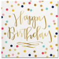 Set of 20 Happy Birthday Cocktail Napkins w Gold Metallic Accents
