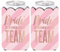 Set of 2 Pink Bride's Drinking Team Can Koozies Coolies w Glitter Bling