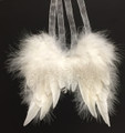 Set of Two Glittery White Feather Angel Wings Christmas Ornaments