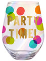 Party Time Jumbo 30 oz. Colorful Wine Glass w Gold Accents Holds 1 Full Bottle