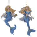 Set of 2 Glittery Blue Mermaids on Silver Shell Ornaments by Kurt Adler