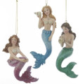 Set of 3 Glittery Mermaids with Shells Ornaments by Kurt Adler