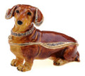 Brown Dachshund Crystal Bejeweled Trinket Box w Matching Necklace