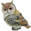 Horned Owl Crystal Bejeweled Trinket Box w Matching Necklace